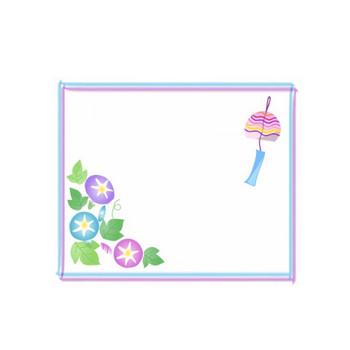 朝顔と風鈴のフレーム飾り枠イラスト | 無料イラスト かわいいフリー素材集 フレームぽけっと