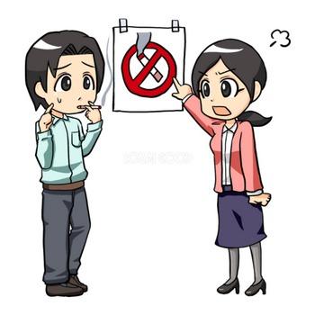 男性に女性が怒る禁煙-無料イラスト | 素材Good