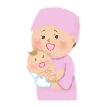 助産師が赤ちゃんを抱っこする無料イラスト/医療/健康46717 | 素材Good