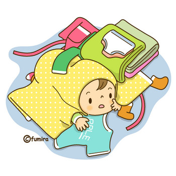 洗濯ものと赤ちゃん(ソフト)   子供と動物のイラスト屋さん わたなべふみ