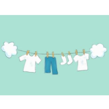 » 洗濯物のイラスト / 干してあるTシャツ、ズボン、靴下   可愛い無料イラスト素材集