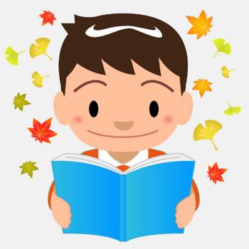 商用フリーイラスト_読書_男の子_Reading Book_落ち葉 | 商用OK!フリー素材集「ナイスなイラスト」