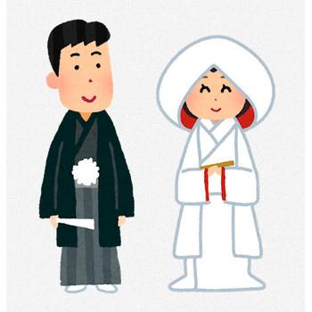 結婚式のイラスト「新郎新婦・神前式」 | かわいいフリー素材集 いらすとや