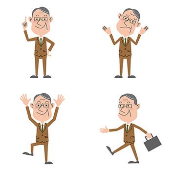 【商用無料】社長・中年のビジネスマンのフリーイラスト素材 01