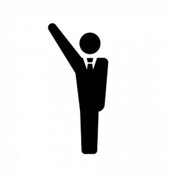 挙手するサラリーマンのシルエット | 無料のAi・PNG白黒シルエットイラスト