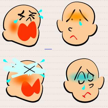 ワード、エクセルのお絵かき工房 泣き顔(涙)のイラスト