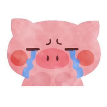 LINEスタンプ・デコメ素材として使えるぶたたイラスト【泣き顔】 | ■ぶたた■decosmith