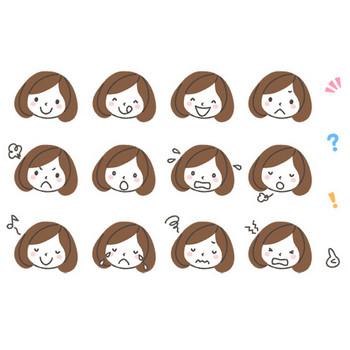 女性(薬剤師)の表情アイコンイラスト12種 | 可愛い無料イラスト・人物素材 - フリーラ -