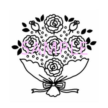 ブーケ・花束1/花/白黒イラスト素材 - 素材屋イラストブログ