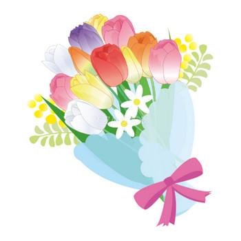 カラフルなチューリップなどの春の花束フリー無料イラスト83386 | 素材Good