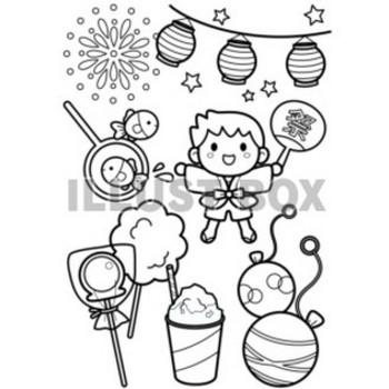 無料イラスト 楽しい夏祭り<塗り絵>