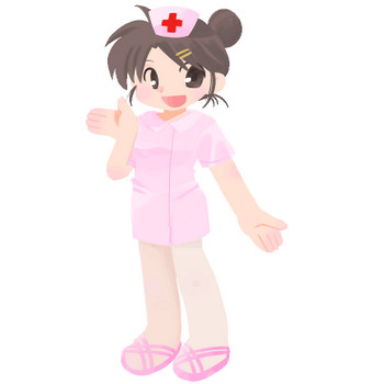 手を上げて案内をする女性看護師(ナース)のイラスト素材(HP素材のおすそわけ。)