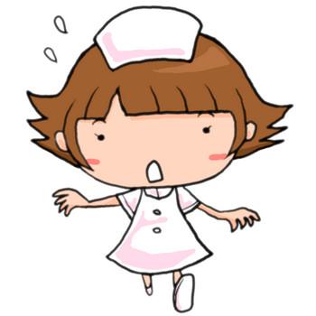 ナースコールにあわてて駆けつける看護師の女性|かわいい無料イラスト素材(商用利用可)