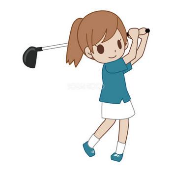 OLがゴルフをする 無料スポーツイラスト | 素材Good