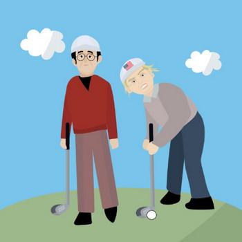 ゴルフ会談 イラスト   商用フリー(無料)のイラスト素材なら「イラストマンション」