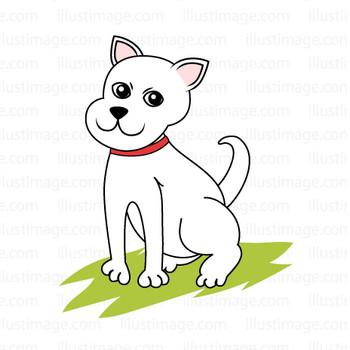 白い犬の無料イラスト素材|イラストイメージ