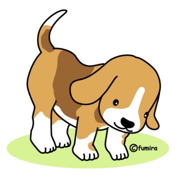 ビーグル犬のイラスト(カラー) | 子供と動物のイラスト屋さん わたなべふみ