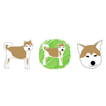 秋田犬の無料イラスト