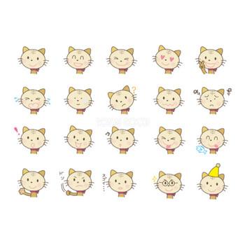 可愛い猫の表情20種類 無料イラスト | 素材Good