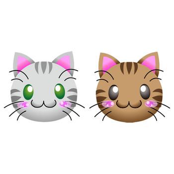 フリーイラスト素材「猫の顔」