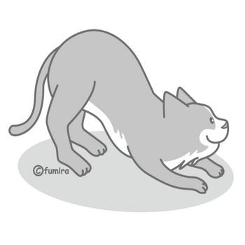 灰色の猫のイラスト(モノクロ) | 子供と動物のイラスト屋さん わたなべふみ