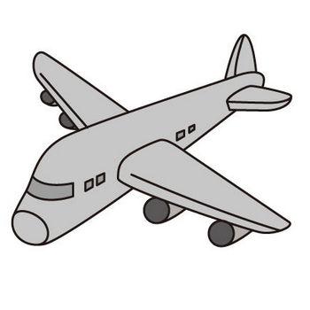 飛行機(モノクロ) | 子供と動物のイラスト屋さん わたなべふみ