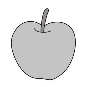 りんご(モノクロ) | 子供と動物のイラスト屋さん わたなべふみ