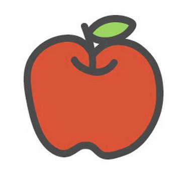 林檎(りんご)のかわいい手書き風イラストアイコン | 可愛い絵文字アイコンイラスト『落書きアイコン』