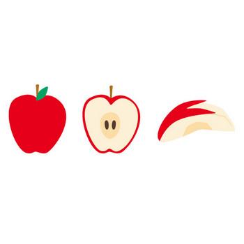 [フリーイラスト] リンゴとリンゴのラインとフレームのセットでアハ体験 - GAHAG | 著作権フリー写真・イラスト素材集
