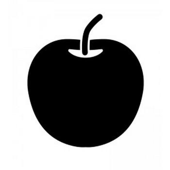 りんごのシルエット | 無料のAi・PNG白黒シルエットイラスト