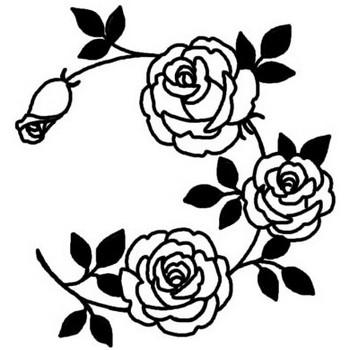 バラ6/バラ(薔薇)/花/無料【白黒イラスト素材】
