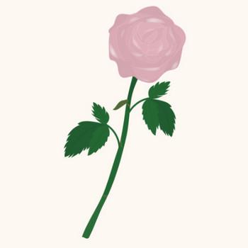 一輪のピンクの薔薇(バラ)のイラスト   商用フリー(無料)のイラスト素材なら「イラストマンション」