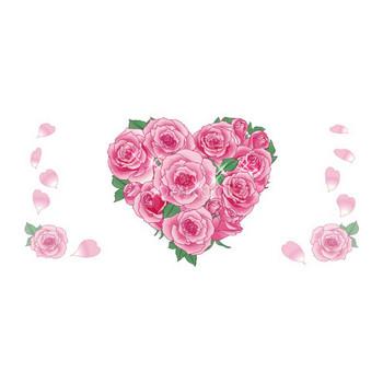 ピンクのバラでハート型 無料背景イラスト   素材Good