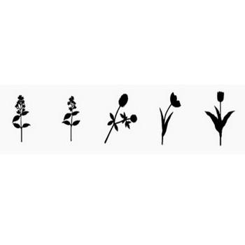 花のシルエット素材集:花々のイラストのフリーダウンロード素材