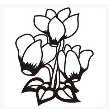植物 シクラメン(モノクロ) – 無料で使えるイラスト素材・PowerPointテンプレート配布サイト【素材工場】