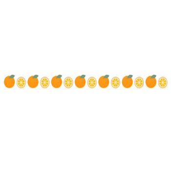 [果物・フルーツ]みかん(オレンジ)のライン飾り罫線イラスト<輪切り/スマイルカット> | 無料フリーイラスト素材集【Frame illust】