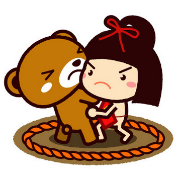 金太郎とクマの大相撲イラスト|かわいいフリー素材、無料イラスト|素材のプチッチ