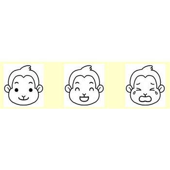 サル・ブタ(猿・豚)1/動物の顔/無料イラスト【白黒イラスト素材】