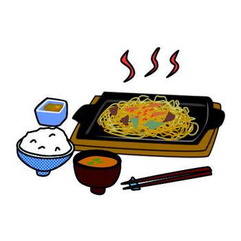 やきそば定食のイラスト|フリーイラスト素材 変な絵.net
