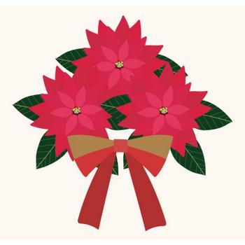 ポインセチアとリボンのクリスマス イラスト | 商用フリー(無料)のイラスト素材なら「イラストマンション」