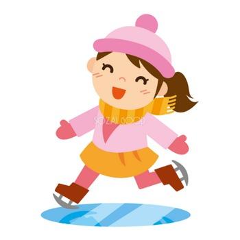 冬 かわいいイラスト 無料 フリー 「スケートをする女の子」34703 | 素材Good
