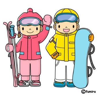 スキー・スノーボードのイラスト(カラー) | 子供と動物のイラスト屋さん わたなべふみ