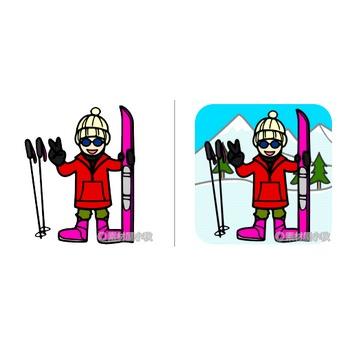 スキーのイラスト | 素材屋小秋