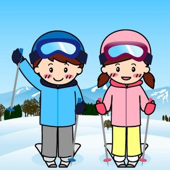 スキーのイラスト:無料画像の素材屋花子