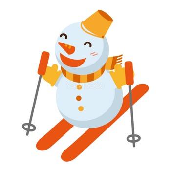 冬 かわいいイラスト 無料 フリー「スキーをする雪だるま」34776 | 素材Good