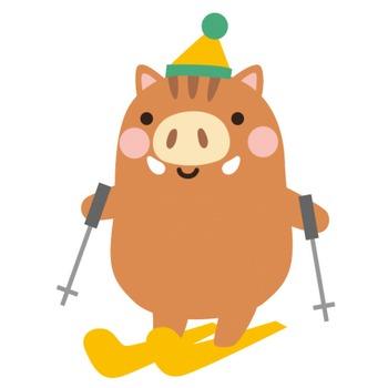 スキーをする猪のイラスト | 無料フリーイラスト素材集【Frame illust】