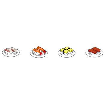にぎり寿司・まき寿司・いなり寿司-寿司のクリップアート-無料イラスト素材のイラストポップ