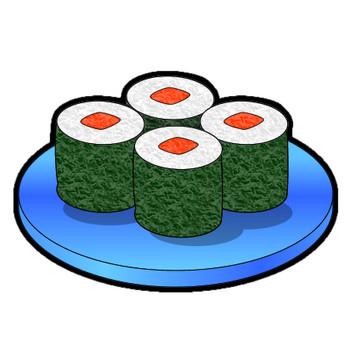 細巻寿司のイラスト|フリー素材 イラストカット.com