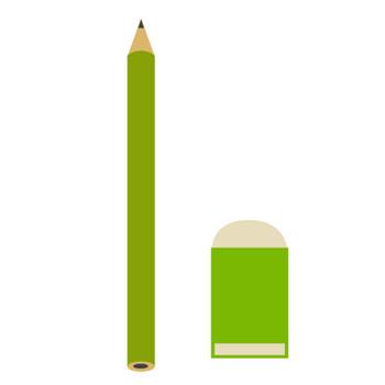 鉛筆と消しゴムの無料イラスト(オーフリー写真素材)