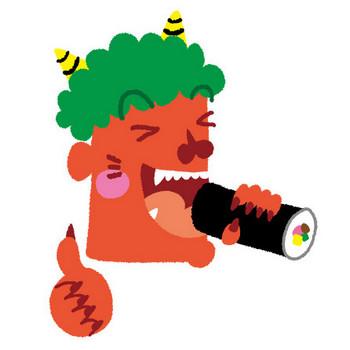 [フリーイラスト] 恵方巻きを食べる赤鬼 - パブリックドメインQ:著作権フリー画像素材集